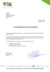 UL719 ABRASION TEST DECLARATION